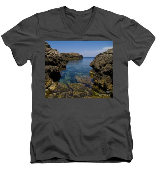 Clear Water Of Mallorca Men's V-Neck T-Shirt by Anastasy Yarmolovich