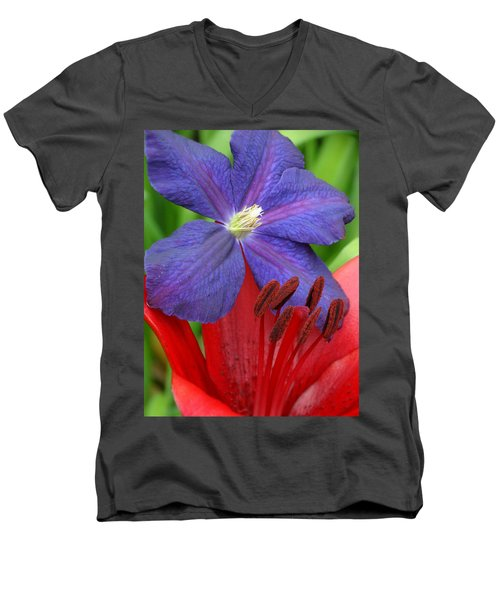 Clematis And Lily Men's V-Neck T-Shirt by Rebecca Overton