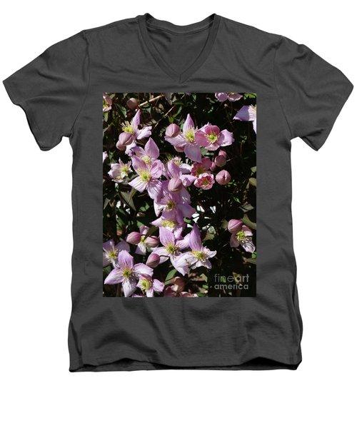 Clematis Montana  In Full Bloom Men's V-Neck T-Shirt
