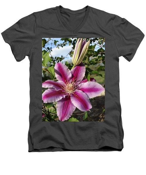 Clematis Petals Men's V-Neck T-Shirt by Rebecca Overton