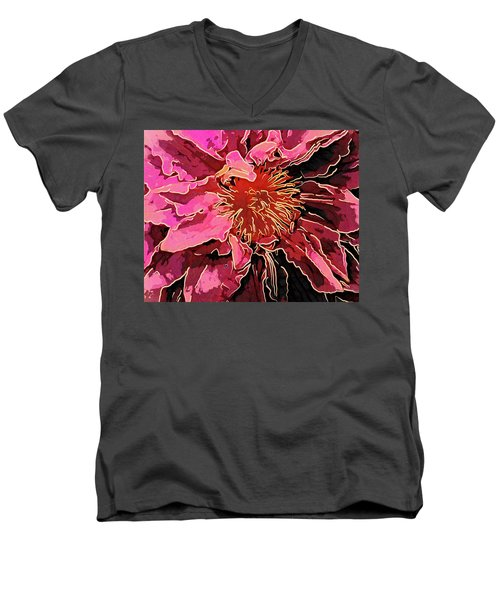 Clematis Up Close And Personal Men's V-Neck T-Shirt