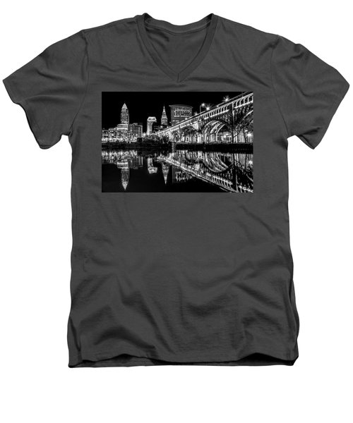 Cleveland After Dark Men's V-Neck T-Shirt by Brent Durken