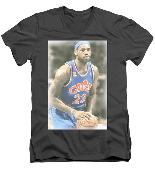 Cleveland Cavaliers Lebron James 1 Men's V-Neck T-Shirt by Joe Hamilton