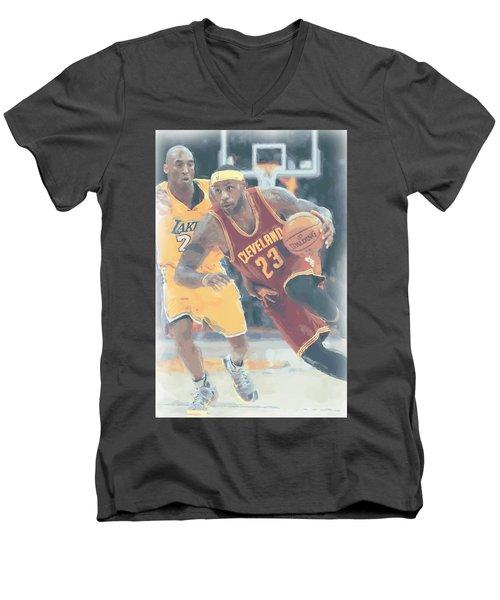 Cleveland Cavaliers Lebron James 3 Men's V-Neck T-Shirt by Joe Hamilton