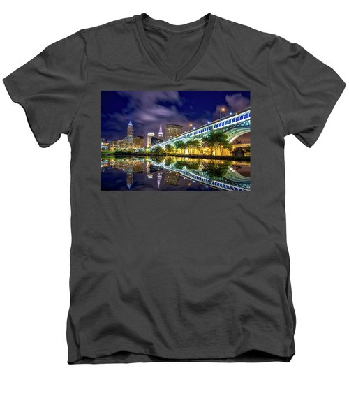 Men's V-Neck T-Shirt featuring the photograph Cleveland Skyline 4 by Emmanuel Panagiotakis
