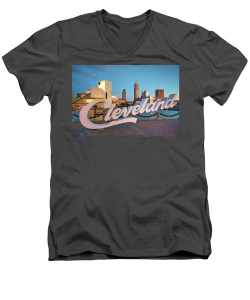 Cleveland's North Coast Men's V-Neck T-Shirt by Brent Durken
