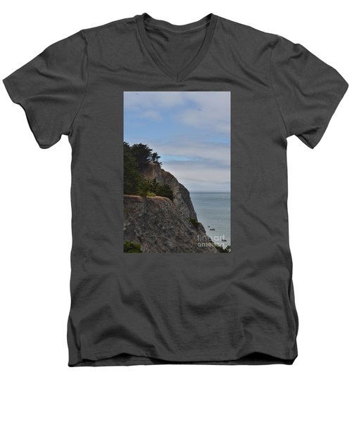 Men's V-Neck T-Shirt featuring the photograph Cliff Hanger by Judy Wolinsky