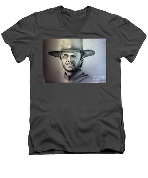Clint Eastwood Portrait  Men's V-Neck T-Shirt