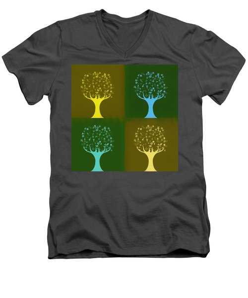 Men's V-Neck T-Shirt featuring the mixed media Clip Art Trees by Dan Sproul