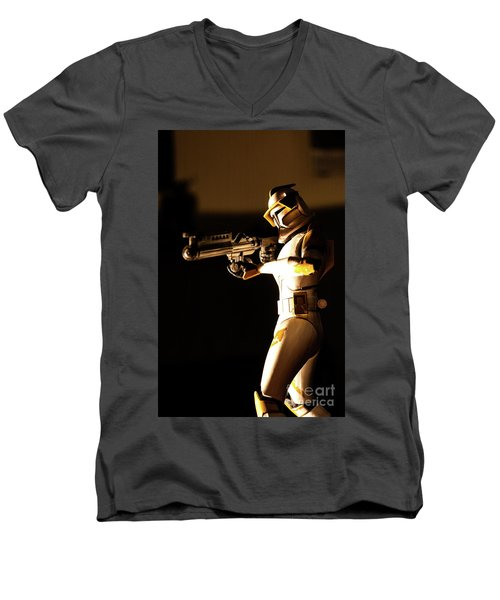 Men's V-Neck T-Shirt featuring the photograph Clone Trooper 7 by Micah May