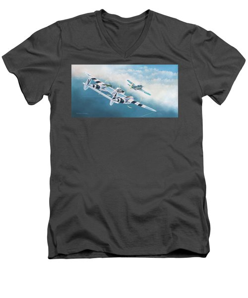 Close Encounter With A Focke-wulf Men's V-Neck T-Shirt by Douglas Castleman