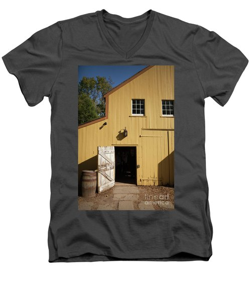 Close Up Of Landis Valley Yellow Barn Men's V-Neck T-Shirt