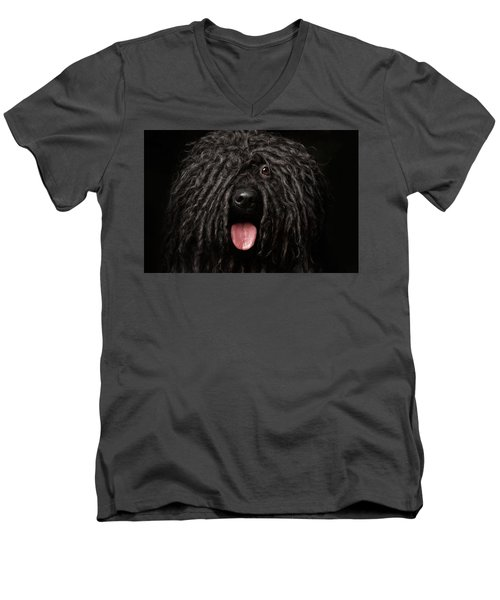 Men's V-Neck T-Shirt featuring the photograph Close Up Portrait Of Puli Dog Isolated On Black by Sergey Taran