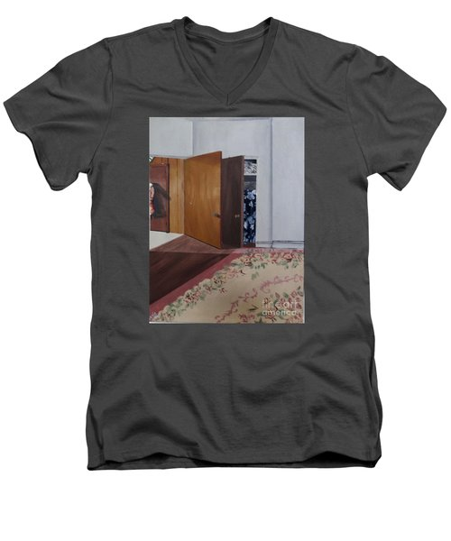 Men's V-Neck T-Shirt featuring the painting Closet Doors by Lyric Lucas
