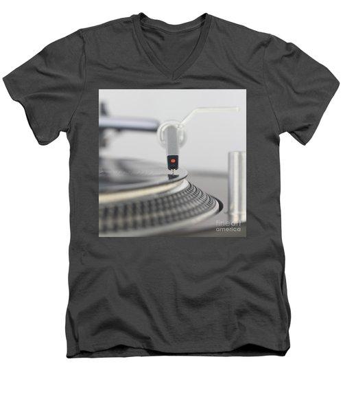 Closeup Of The Legendary Technics Sl 1200 Mk2 Turntable Men's V-Neck T-Shirt