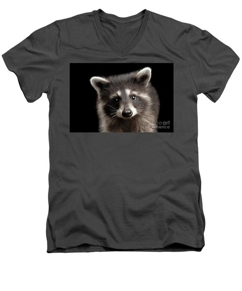 Men's V-Neck T-Shirt featuring the photograph Closeup Portrait Cute Baby Raccoon Isolated On Black Background by Sergey Taran