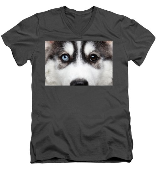Men's V-Neck T-Shirt featuring the photograph Closeup Siberian Husky Puppy Different Eyes by Sergey Taran