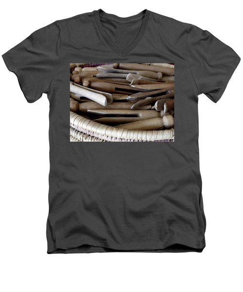 Clothes-pins Men's V-Neck T-Shirt by Lainie Wrightson
