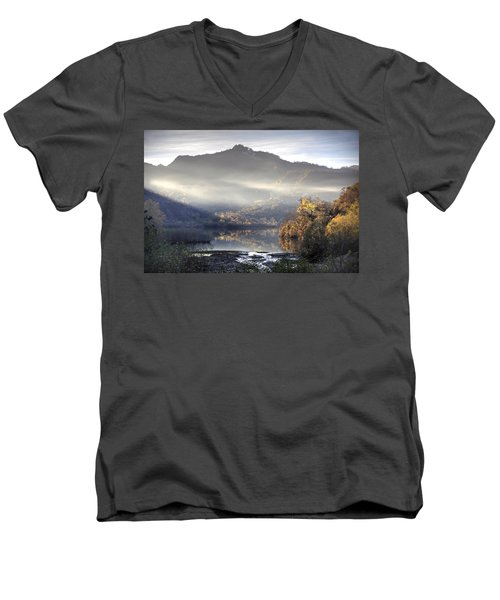 Men's V-Neck T-Shirt featuring the photograph Mist In The Evening by Gouzel -