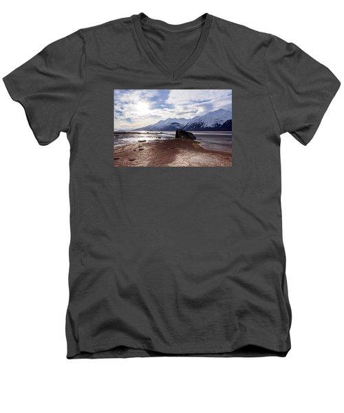 Cloud Shadows At Low Tide. Men's V-Neck T-Shirt by Michele Cornelius