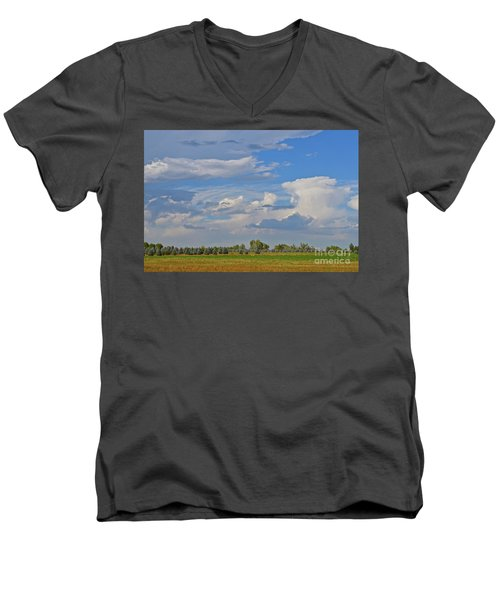 Clouds Aboive The Tree Farm Men's V-Neck T-Shirt