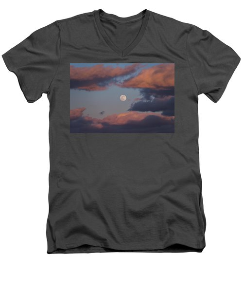 Men's V-Neck T-Shirt featuring the photograph Clouds And Moon March 2017 by Terry DeLuco