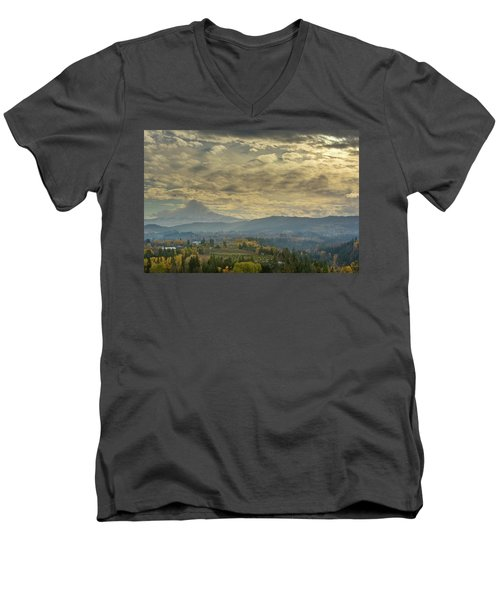 Clouds And Sun Rays Over Mount Hood And Hood River Oregon Men's V-Neck T-Shirt