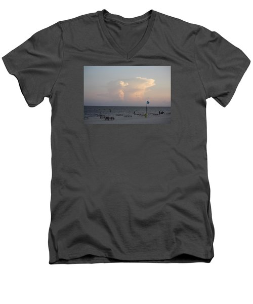 Men's V-Neck T-Shirt featuring the photograph Clouds At The Beach by Donna G Smith