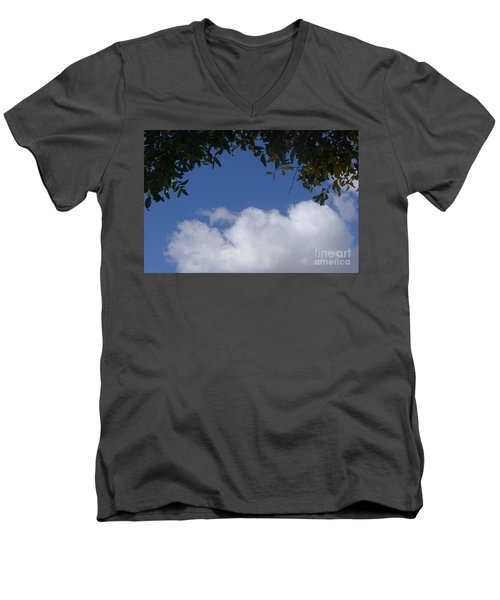 Clouds Framed By Tree Men's V-Neck T-Shirt by Nora Boghossian
