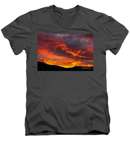 Clouds On Fire Men's V-Neck T-Shirt