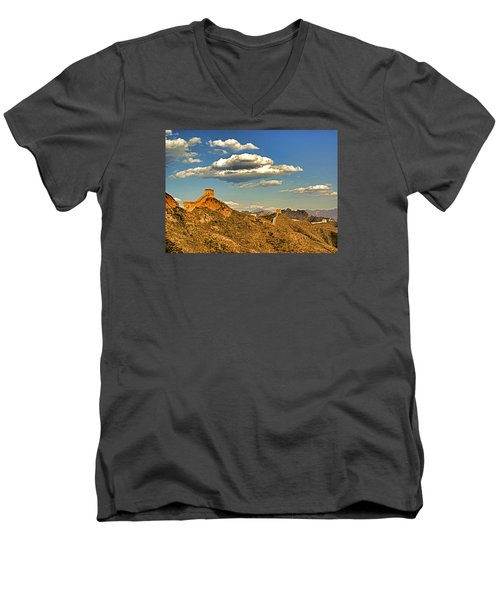 Clouds Over Great Wall Men's V-Neck T-Shirt by Dennis Cox ChinaStock