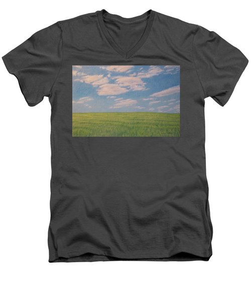 Clouds Over Green Field Men's V-Neck T-Shirt