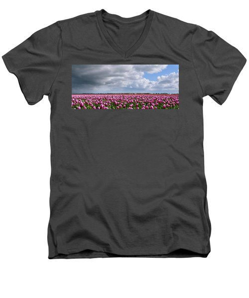 Clouds Over Purple Tulips Men's V-Neck T-Shirt