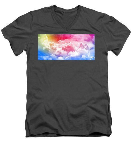 Clouds Rainbow - Nuvole Arcobaleno Men's V-Neck T-Shirt by Zedi