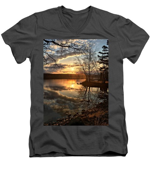 Clouds, Reflection And Sunset  Men's V-Neck T-Shirt by Betty Pauwels