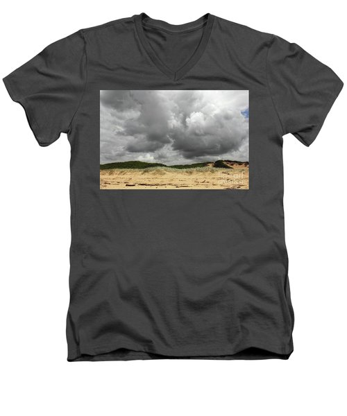 Men's V-Neck T-Shirt featuring the photograph Cloudy Beach II By Kaye Menner by Kaye Menner