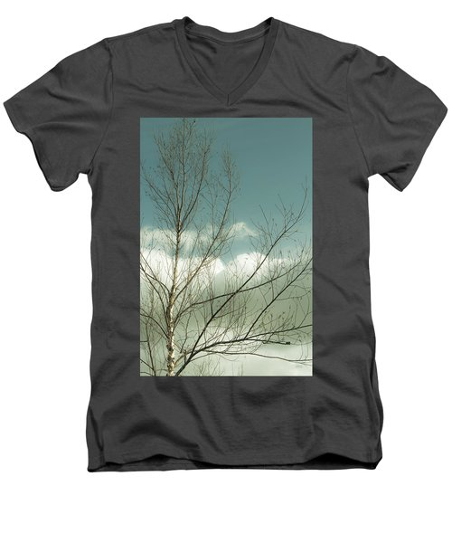 Men's V-Neck T-Shirt featuring the photograph Cloudy Blue Sky Through Tree Top No 1 by Ben and Raisa Gertsberg