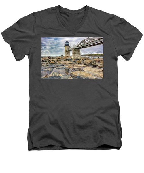 Men's V-Neck T-Shirt featuring the photograph Cloudy Day At Marshall Point by Rick Berk