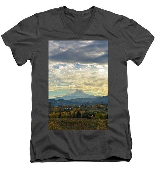 Cloudy Day Over Mount Hood At Hood River Oregon Men's V-Neck T-Shirt
