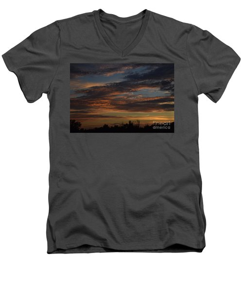 Men's V-Neck T-Shirt featuring the photograph Cloudy Kansas Evening by Mark McReynolds