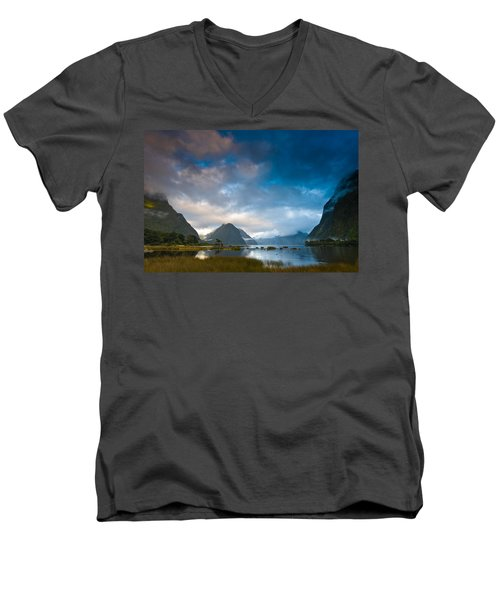 Cloudy Morning At Milford Sound At Sunrise Men's V-Neck T-Shirt by Ulrich Schade