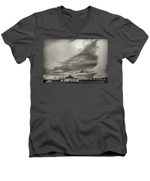 Men's V-Neck T-Shirt featuring the photograph Cloudy Sky, Karakorum, 2016 by Hitendra SINKAR