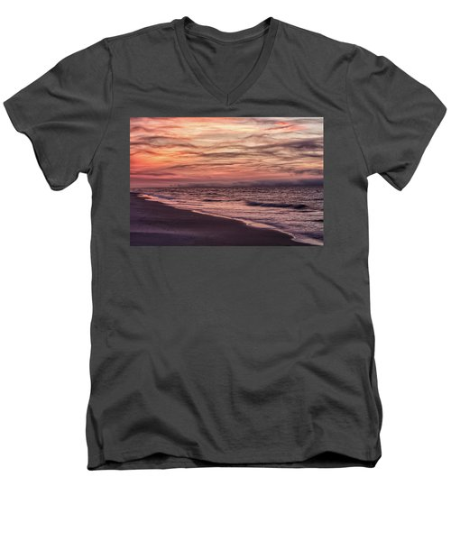 Men's V-Neck T-Shirt featuring the photograph Cloudy Sunrise At The Beach by John McGraw