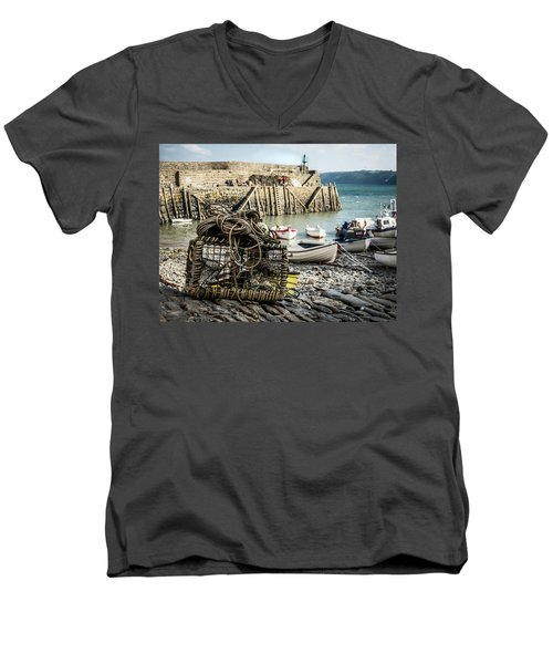 Men's V-Neck T-Shirt featuring the photograph Clovelly Crab Trap by Nick Bywater