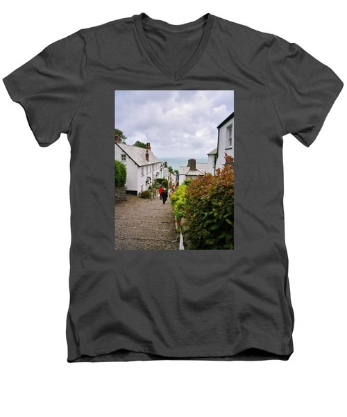 Clovelly High Street Men's V-Neck T-Shirt by Richard Brookes