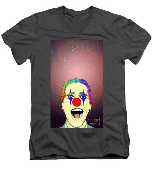 Men's V-Neck T-Shirt featuring the drawing clown Christian Bale by Jason Tricktop Matthews