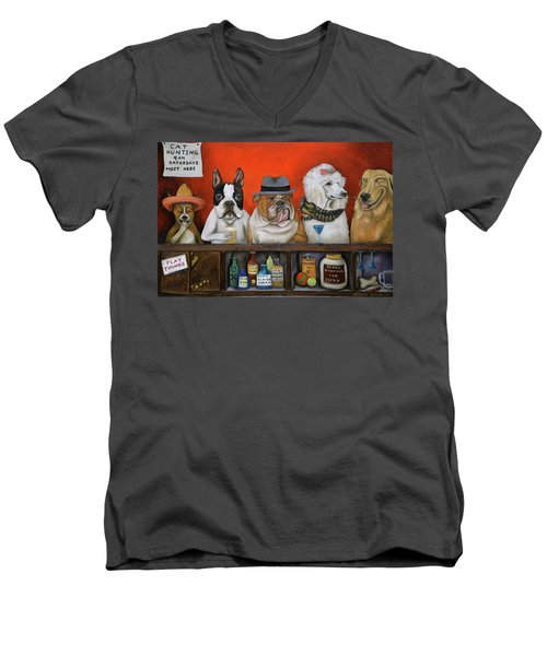 Men's V-Neck T-Shirt featuring the painting Club K9 by Leah Saulnier The Painting Maniac
