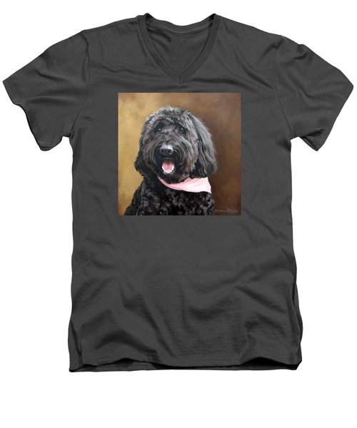 Men's V-Neck T-Shirt featuring the painting Coal by Sandra Chase