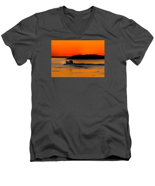 Men's V-Neck T-Shirt featuring the photograph Coast Guard  by Jerry Cahill
