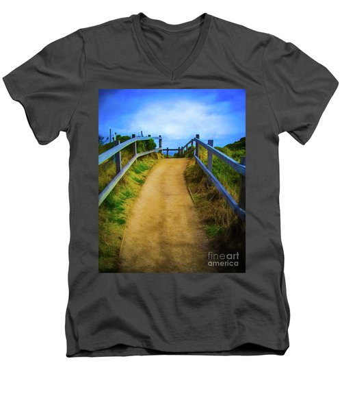 Men's V-Neck T-Shirt featuring the photograph Coast Path by Perry Webster
